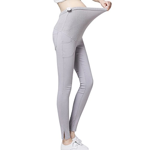 JOYNCLEON Pregnant Women Work Pants Stretchy Maternity Skinny Ankle Trousers Slim for Women (Label M = US 0-4 fit for Hip 33.5'', Light Grey) by JOYNCLEON