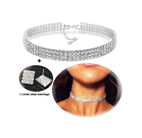 Mooinn 3 Rows Womens Clear Rhinestone Choker-Crystal Diamond Necklace Adjustable Silver Tone