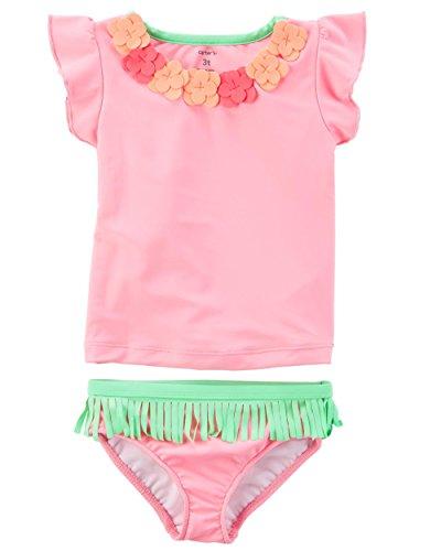 t Sleeve Rash Guard Swimsuit Set (Baby/Toddler/Kid) (3T, Pink/Hawaiian) (Hawaiian Rash Guard Shirt)