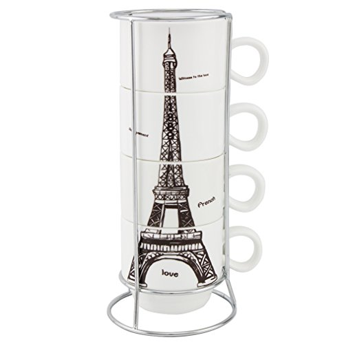 Pretty Housekeeper Stacking Fine Bone China Coffee Mugs Set with Rack, Eiffel Tower,5 Oz Cups ()
