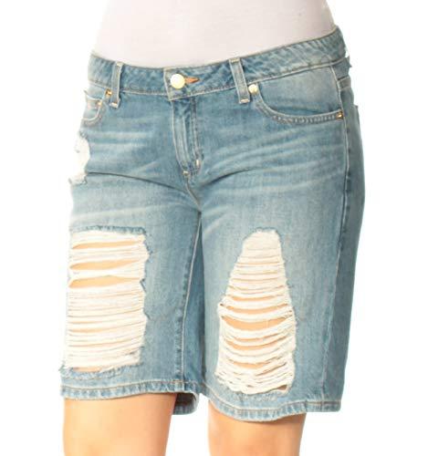 Bermuda Michael Kors (Michael Kors Michael Womens Ripped Distressed Bermuda Shorts, Carmine Wash (4))