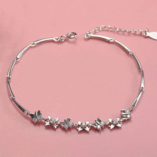 Weiduoli Bracelet S925 Sterling Silver Bracelet Fine Crystal Butterfly Lady Bracelet Adjustable Gift