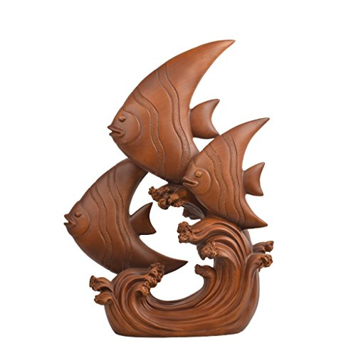 (Decorative Statue Of A Fish Three) 29 Cm Long 10 Cm Wide 39.5 Cm High, Imitation Wood Ink Resin Ornaments)