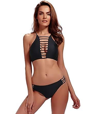 Women's Halter Bikinis Bathing Suits Strappy Padding Swimsuit Set 3 Piece Black S