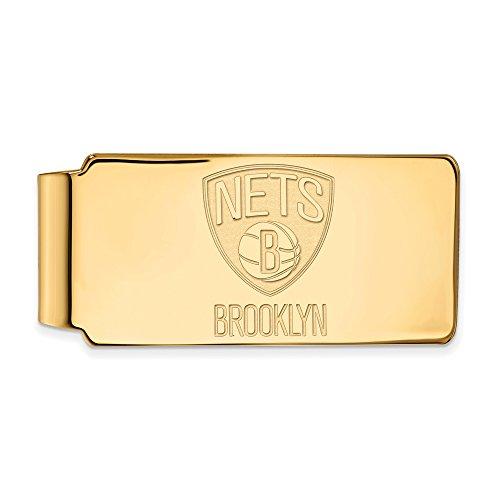 NBA Brooklyn Nets Money Clip in 14K Yellow Gold by LogoArt