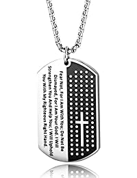Black Stainless Steel Carved Cross and Lord's Prayer Dog...