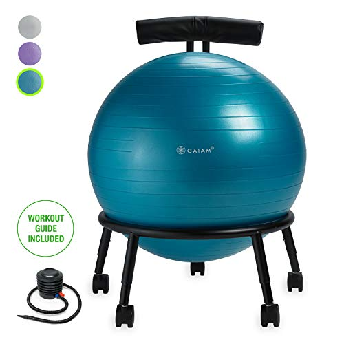 Gaiam Custom-Fit Balance Ball Chair - Exercise Stability Ball Adjustable Desk Chair for Home or Office with 55cm Yoga Ball, Air Pump, Exercise Guide and Satisfaction Guarantee, Blue]()