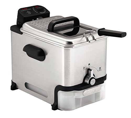 T-fal Deep Fryer with Basket, Stainless Steel, Easy to Clean Deep Fryer, Oil Filtration, 2.6-Pound, Silver, Model FR8000 (Best Small Deep Fryer)