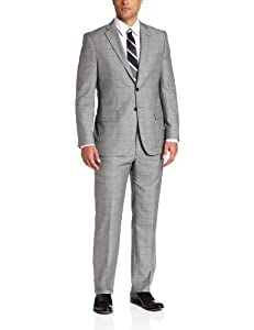 B00CM2GVT8 Joseph Abboud Men's Super 150'S Wool Windowpane Suit With Flat Front Pant, Grey, 38 Medium/Regular