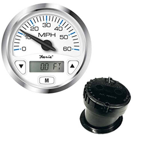 Faria Chesapeake White SS 4 GPS Speedometer w/Digital Depth Display - 60MPH - w/In-Hull Transducer