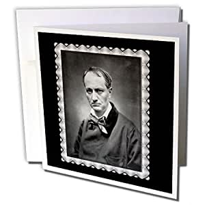 BLN Vintage Photographs of History and People 1800s - 1900s - Charles Baudelaire from1878 by Etienne Carjat Black and white Portrait of a Man - 12 Greeting Cards with envelopes (gc_160795_2)