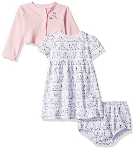 Little Me Baby Girls Knit Dress with Cardigan Set, White Print, 3 Months