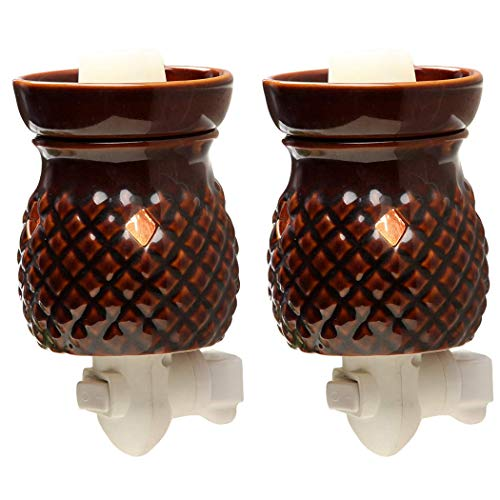 Hosley Set of Two 5.3 High Red Ceramic Electric Wax Warmer. Ideal for Wedding, Spa and Aromatherapy. Use Brand Wax Melts/Cubes, Essential Oils and Fragrance Oils. W1