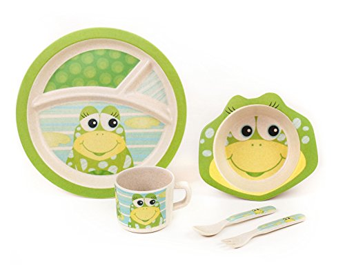 BAMBOO KIDS Meal Set | Plate Set | Toddler Dinner Set | Eco-Friendly Bamboo Dishes | Food-Safe Feeding Set for Toddlers and Little Kids | Boys and Girls | Frog -