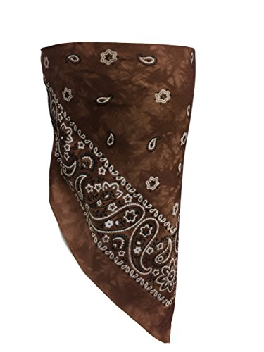 (Dark Brown Paisley VELCRO®Brand Adjustable Close Bandanna Mask Face Cover Reversible Dust, Bug Mask, Sun and Exhaust Protection, Motorcycle ATV Rider Hand Made By My Skull Store)