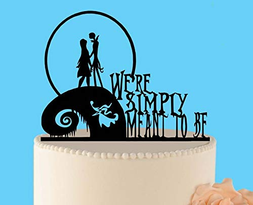 Simply meant to be wedding cake topper, Jack and Sally, Nightmare before Christmas, Jack Skellington Cake Topper, Halloween Wedding Topper ()