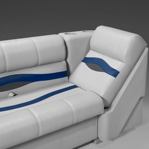 (DeckMate Premium Left Pontoon Lean Back Seats (Gray/Blue/Charcoal))
