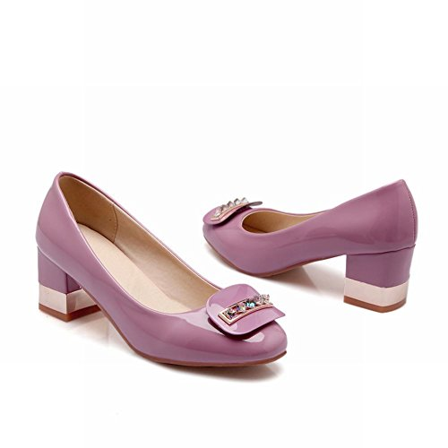 Carolbar Mode Femmes Doux Strass En Cuir Verni Grâce Chunky Mi-talon Robe Pompes Chaussures Violet