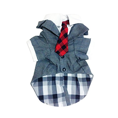 Butler Costume For Cat (Dog Costume Suit and Tie Plaid Leopard Print Stylish Suit Bow Tie Costume for Wedding Party Puppy and Cat 3# XL)