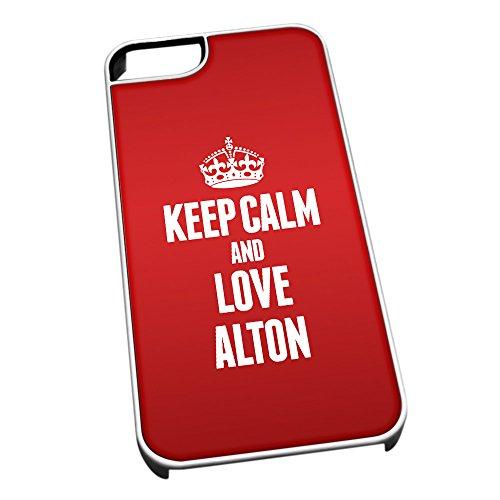 Bianco Custodia protettiva per iPhone 5/5S 0013Rosso Keep Calm e Love Alton
