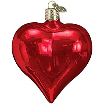 Old World Christmas Large Shiny Red Heart Glass Blown Ornament
