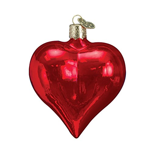 Old World Christmas Ornaments: Large Shiny Red Heart Glass Blown Ornaments for Christmas ()