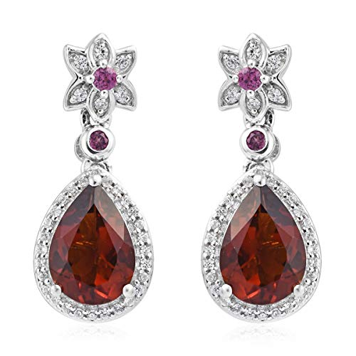 Dangle Drop Earrings 925 Sterling Silver Platinum Plated Red Citrine Rhodolite Garnet Gift Jewelry for Women Cttw 3.3