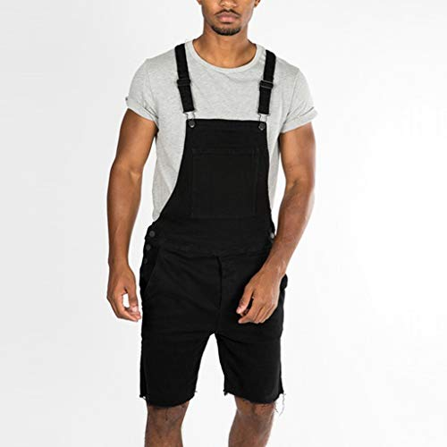 Men's Summer Casual Bib Pants Short Jeans Denim Overall Suspender Pants Washed Denim Overall Jumpsuit by Lowprofile