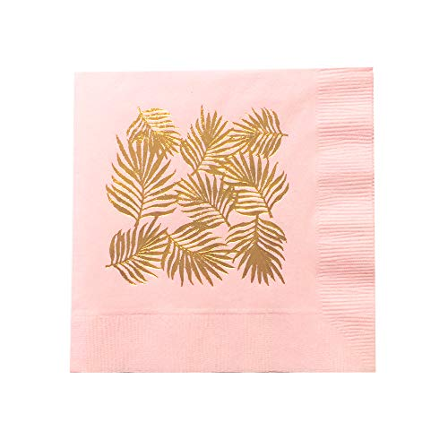 Palm Leaves Party Foil Cocktail Napkins with Copper Foil Made in America by REVEL & -
