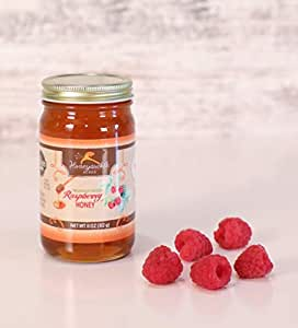 Raspberry Honey - Organically Flavored Raw Honey - Glass Jar (Net Wt 11 Oz)