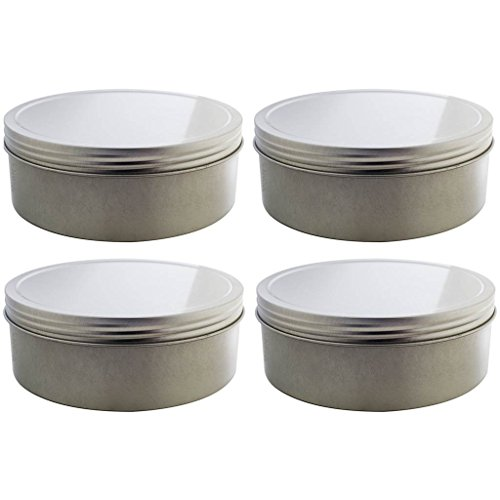16 oz Silver Shallow Low Profile Metal Tin Containers with Screw Top Twist Lids (4 Pack)