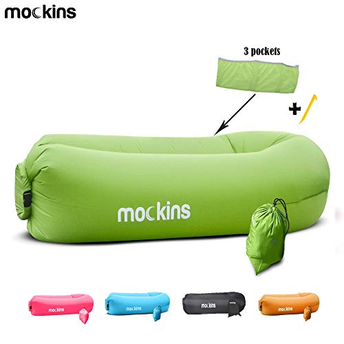 Mockins Green Inflatable Lounger Hangout Sofa Bed with Travel Bag Pouch The Portable Inflatable Couch Air Lounger is Perfect for Music Festivals and Camping Accessories Inflatable Hammock … … - Bag Volleyball Bean Chair