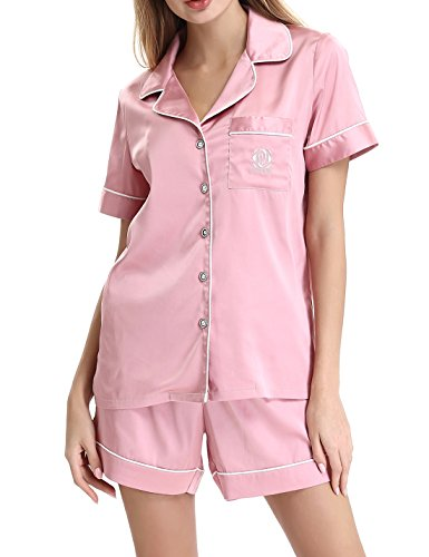 womens-comfy-two-piece-silk-satin-sleepwear-short-sleeve-pajama-set-with-piping-by-nora-twipspinks
