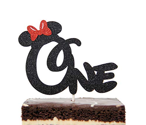 Pleasing First 1St One Year Birthday Cake Topper Minnie Mouse Bow Funny Birthday Cards Online Inifodamsfinfo