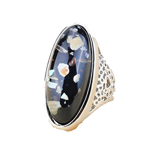 (MARRLY.H Luxury 7 Color Shells Ring for Women Dazzle Artificial Coral Accessories Silver Plated Vintage Oval Big Rings Blue 7)