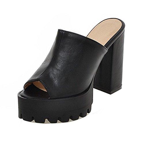 Coolcept À Mules Couture Les Femmes Noir Talons Sandales Haute qYaZa7wx