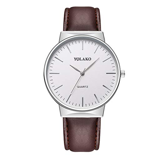 BESSKY Watch Men Quartz Analog Date Leather Band Men FullSilver)