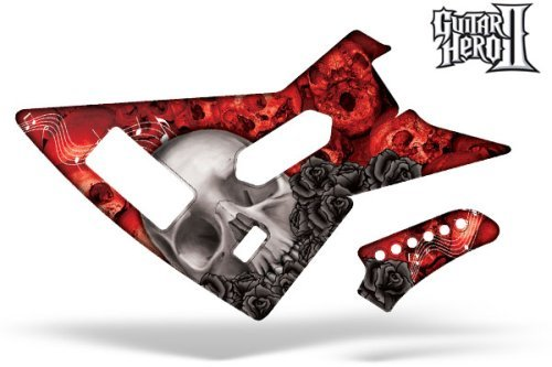 Bone Guitars Red (Guitar Hero 2 Faceplate Skin Xbox 360 - (Xplorer Guitar) Bone Collector Red)