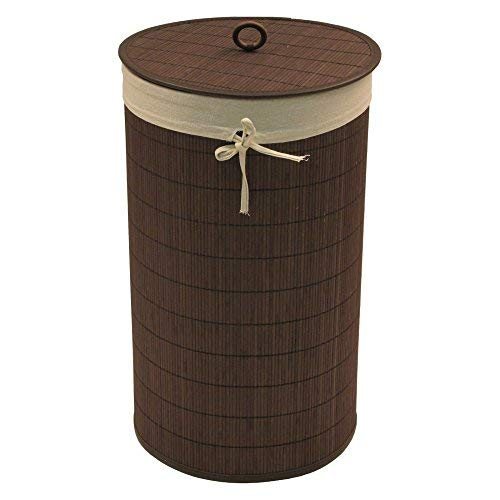 Redmon 7265 Round Bamboo Hamper with Liner, White