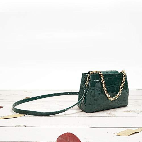 Stone catena Hand metallo Pu spalla moda Bag colore Messenger verde Ratbag Handbags donne di Ladies Nuovo modello solido 04I4qR