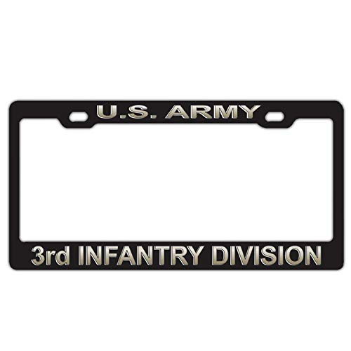 U.S. Army 3rd Infantry Division Black Personalized License Plate Frame Car Tag Frame Stainless Steel Metal 2 Hole and Screws
