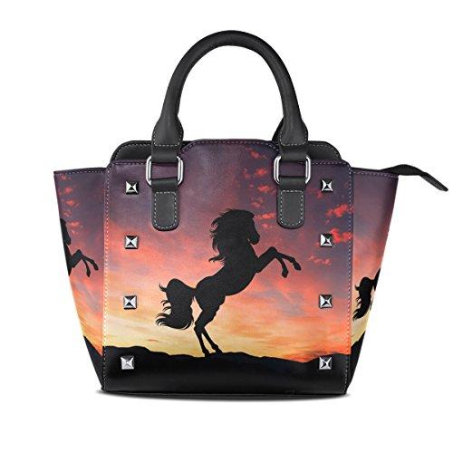 imobaby Horse Sunset PU Leather Girls Top-Handle Handbags Single-Shoulder Ladies Tote Crossbody Bag Messenger Bags For Women