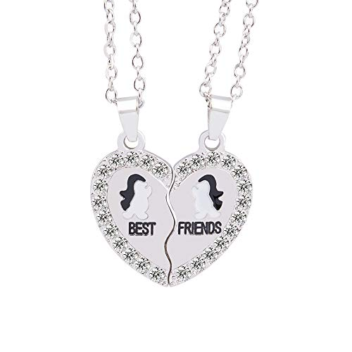 MJartoria Split Valentine Heart Rhinestone Best Friends Engraved Pendant Friendship Necklace Set of 2 -