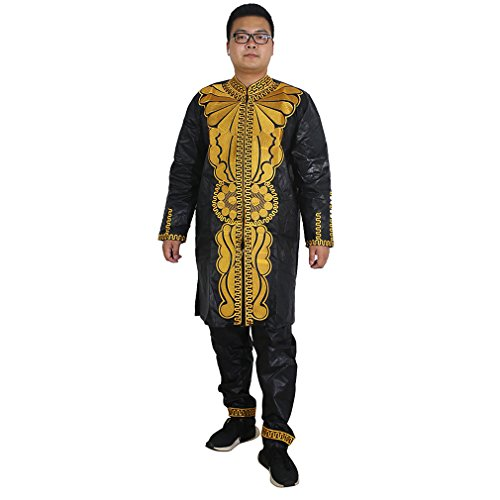 African Wear Bazin Riche Clothing Embroidery Top Shirt and Pants Set Black 2XL ()