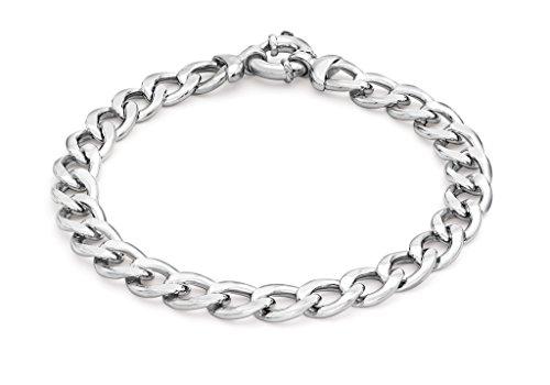 """200Grand Anneau à ressort en or blanc 9carats Plat Chaîne gourmette bracelet 20cm/8"""""""