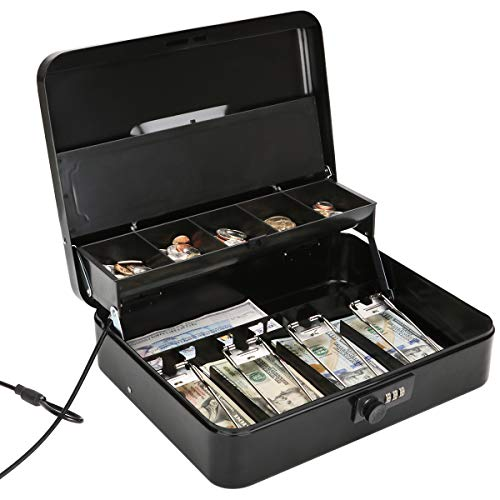 Jssmst Large Locking Cash Box with Money Tray, Metal Money Box with Combination Lock, Black, SM-CB02302XL