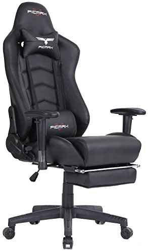 Ficmax Ergonomic High-back Large Size Office Desk Chair Swivel Black PC Gaming Chair with Lumbar Massage Support...
