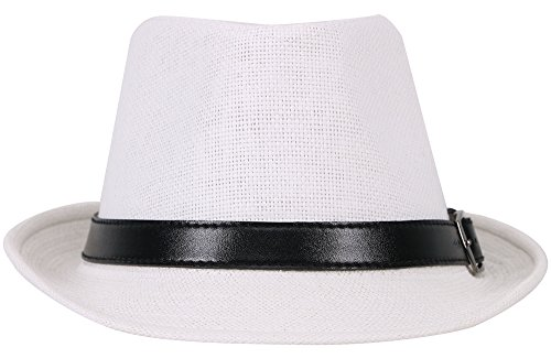 90b494f2 Simplicity Panama Style Fedora Straw Sun Hat with Leather - Import It All