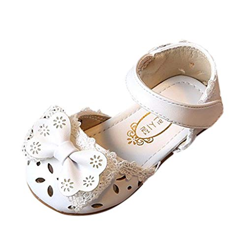Infant Baby Girls Leather Sandals Rubber Soft Sole Summer Sweet Princess Dress Bowknot Walker Shoes Slippers White