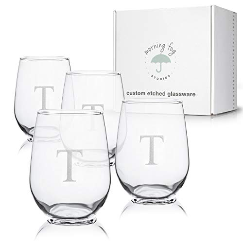 (Monogrammed Stemless Wine Glasses Set of 4, Barware Glassware with Sandblasted Monograms, 17 oz Capacity Each (T) )
